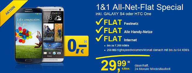 1&1 All-Net-Flat Special HTC One Samsung Galaxy S4