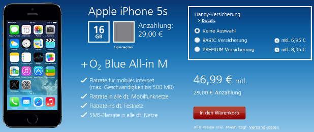iPhone 5s mit O2 Blue All-in M