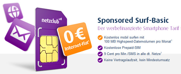Kostenlose Netzclub Internet Flat Sponsored Surf Basic