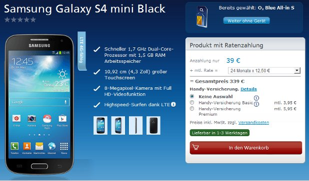 O2 Blue All-in S Samsung Galaxy S4 mini