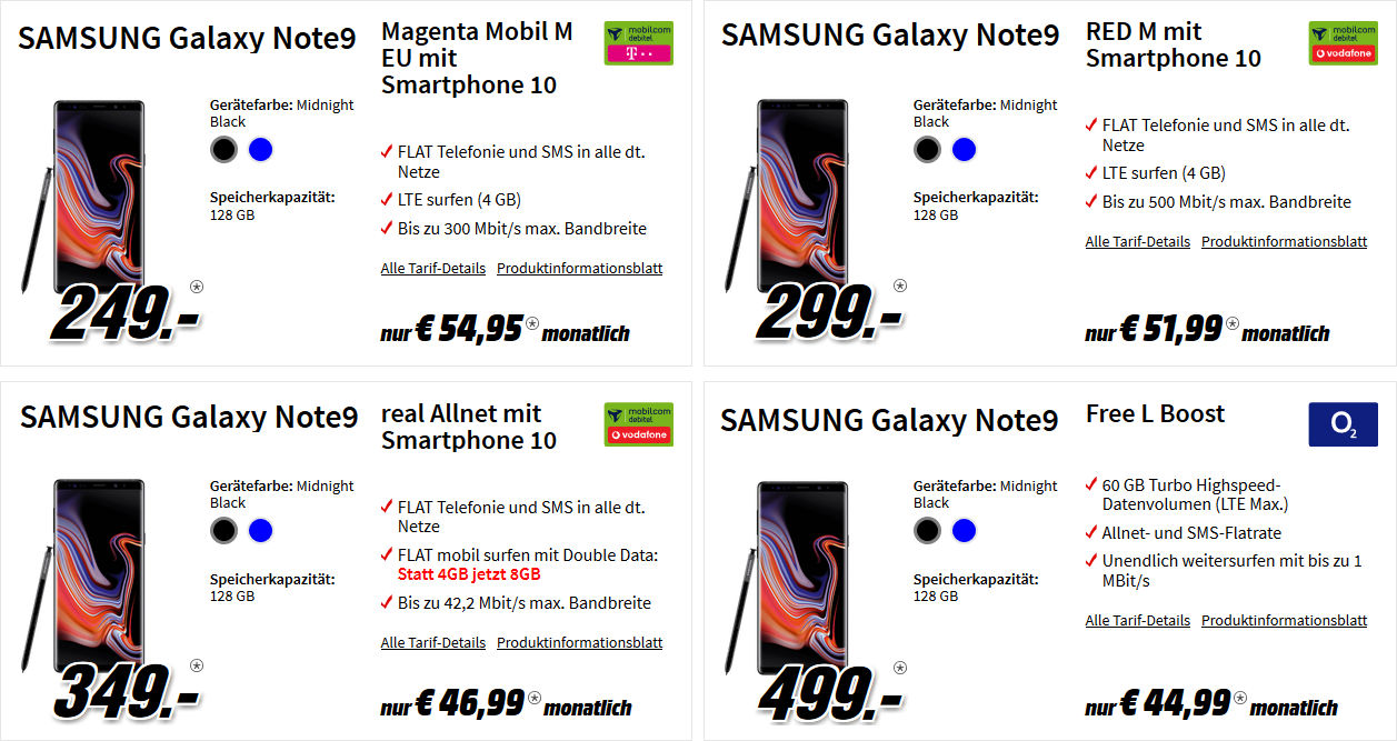 media markt galaxy note 9 mit 8gb d2 allnet flat vertrag. Black Bedroom Furniture Sets. Home Design Ideas