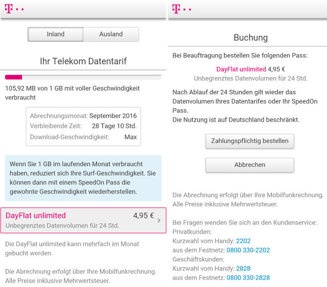 Telekom Dayflat Unlimited ohne Drosselung